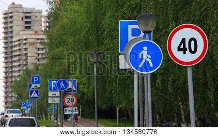 Large number of signs in the city