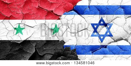 Syria flag with Israel flag on a grunge cracked wall