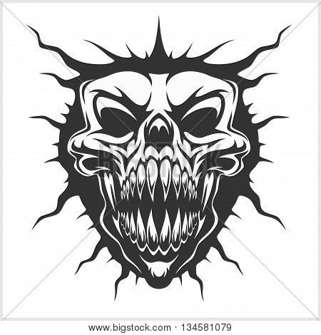 Horned skull for tattoo - isolated on white