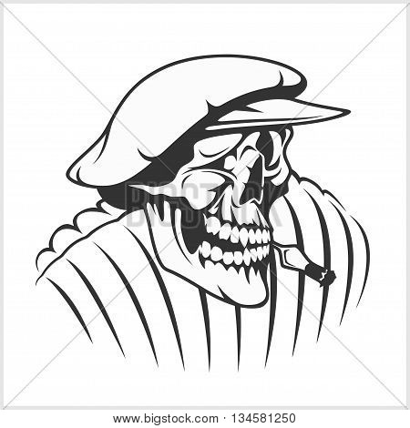 Russian farmer - skull and symbols on white