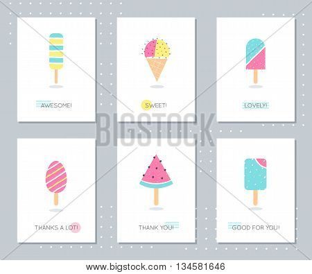Ice-Cream and Popsicle on Sticks. Colourful Cards Vector Set
