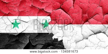 Syria flag with Indonesia flag on a grunge cracked wall
