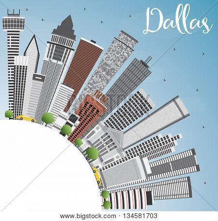 Dallas Skyline with Gray Buildings, Blue Sky and Copy Space. Business Travel and Tourism Concept with Modern Buildings. Image for Presentation Banner Placard and Web Site.