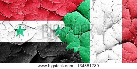 Syria flag with Italy flag on a grunge cracked wall