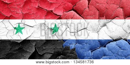 Syria flag with Netherlands flag on a grunge cracked wall