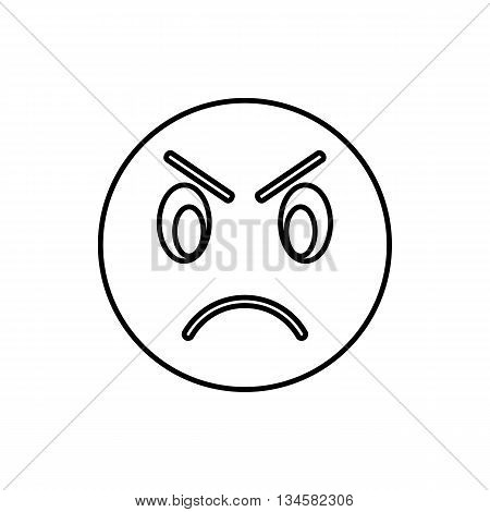 Annoyed emoticon icon in outline style isolated on white background