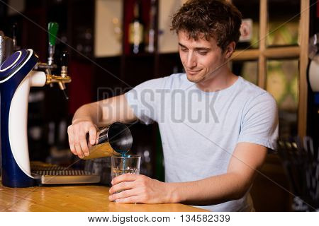 Bartender Preparing Coktails In A Pub