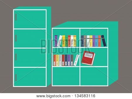 Green bookshelf with a colorful books .