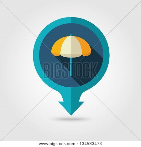 Beach Parasol vector pin map flat icon with long shadow. Map pointer. Summer Map markers. Holiday. Summertime. Vacation eps 10