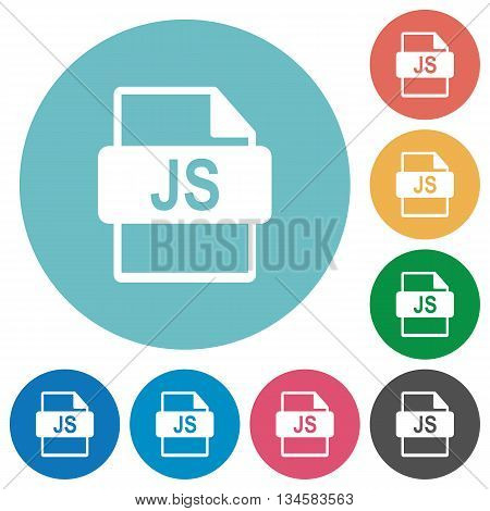 Flat JS file format icon set on round color background.