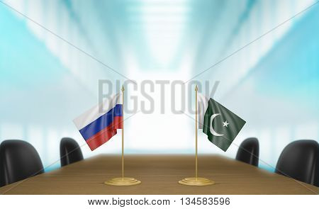 Russia and Pakistan relations and trade deal talks, 3D rendering