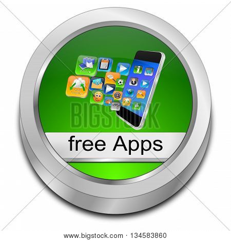 glossy green free apps button - 3d illustration
