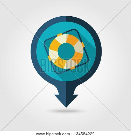 Lifebuoy vector pin map flat icon with long shadow. Beach Map pointer. Summer Map markers. Holiday. Summertime. Vacation eps 10