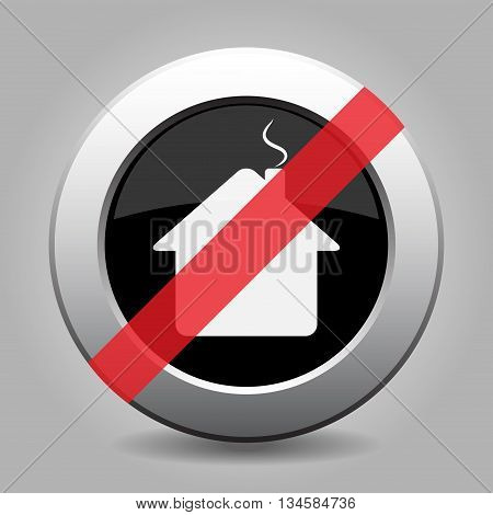 gray chrome button with no home - banned icon