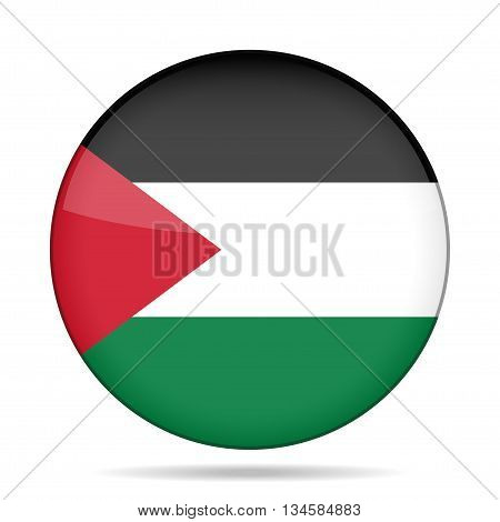 button with national flag of Palestine and shadow