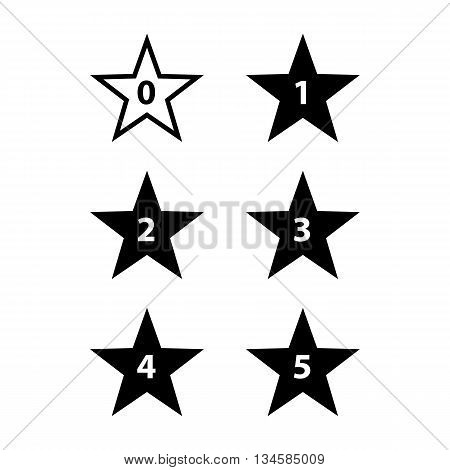 Simple Stars Rating. Black Shapes on White Background