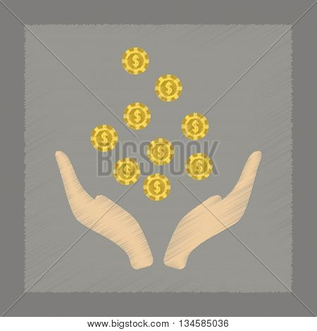 flat shading style icon poker coins in hand