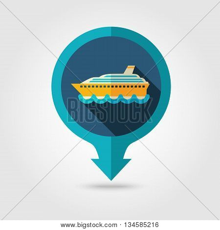 Cruise transatlantic liner vector pin map flat icon with long shadow. Marine Map pointer. Summer Map markers. Holiday. Summertime. Vacation eps 10