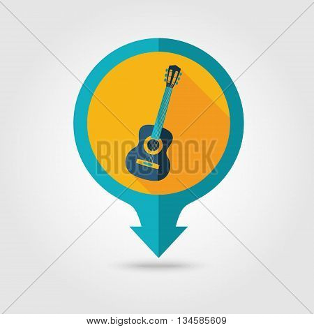 Guitar Beach vector pin map flat icon with long shadow. Beach Map pointer. Summer Map markers. Holiday. Summertime. Vacation eps 10