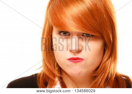 Red Haired Businesswoman Portrait Isolated On White.