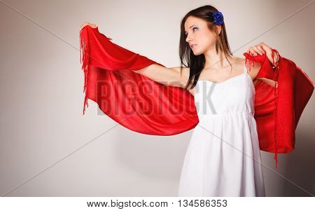 Summer Woman In White Dress With Red Shawl. Fashion
