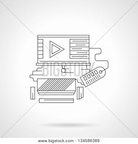 Watching movie premiere. Room with sofa, video player on roller screen, broadcast media channel. Movie time concept. Detailed flat line vector icon. Web design elements for business, site, mobile app.