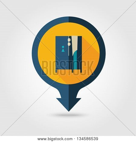Cloakroom on the beach vector pin map flat icon with long shadow. Beach Map pointer. Summer Map markers. Holiday. Summertime. Vacation eps 10
