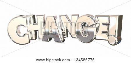 Change New Direction Innovation Word 3d Illustration