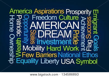 American Dream Word Cloud on Blue Background