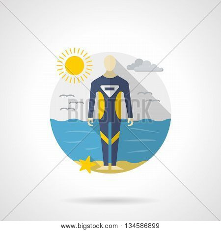 A person wearing in a blue wetsuit for snorkeling standing on a sea coast. Sunny seascape. Water sport, scuba diving tourism. Round detailed flat color style vector icon. Web design elements.