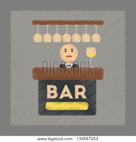 flat shading style icon poker bar bartender