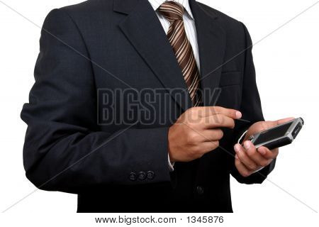 Business Man Using Pda (1) With Clipping Path