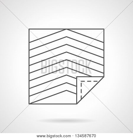 Types of floor covering. Linoleum model with angle stripes print. Repair works, construction. Commercial and home interior elements. Flat line style vector icon.