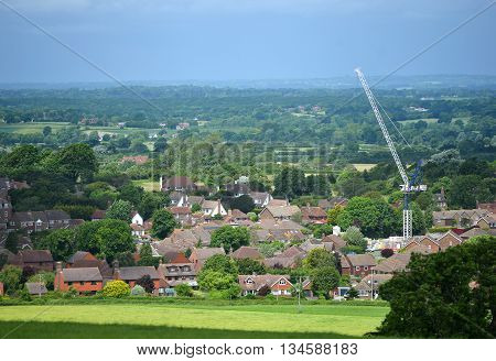 Scene of typical modern english country village under development