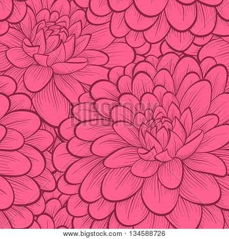 Beautiful seamless background with flowers. Hand-drawn contour and strokes.