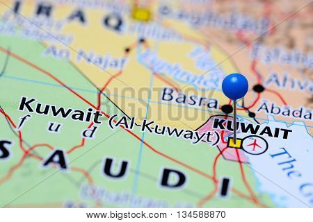 Kuwait pinned on a map of Asia