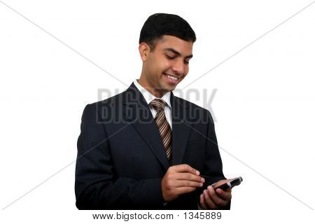 Indian Business Man Using Pda (5) With Clipping Path