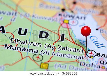 Dhahran pinned on a map of Saudi Arabia
