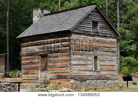 Log Cabin Fort built by settlers in 1792 at rural Georgia, USA.