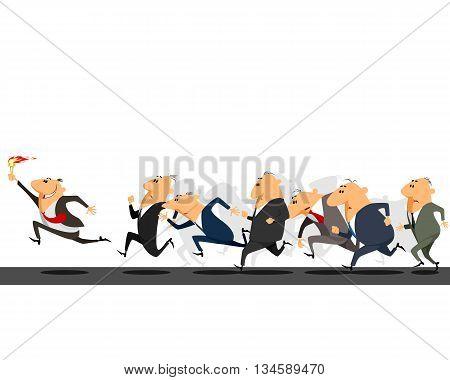 Vector illustration of a businessmen running on track