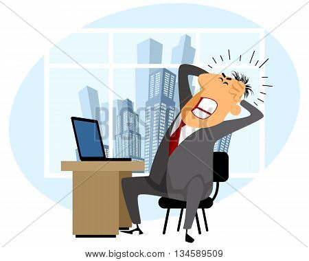 Vector illustration of a frustrated man at work
