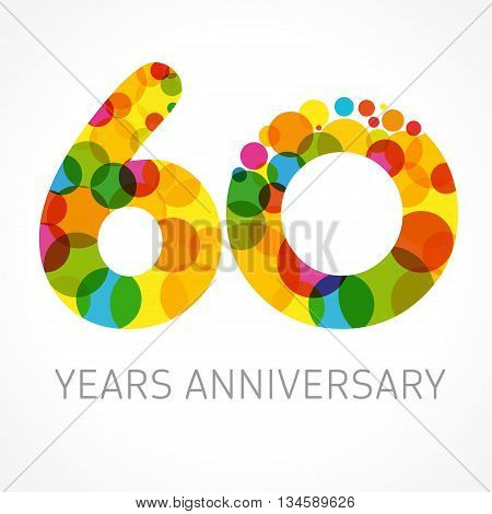 60 years anniversary circle colored logo. Template logo 60th anniversary with a circle in the form of a color bubble