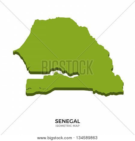 Isometric map of Senegal detailed vector illustration. Isolated 3D isometric country concept for infographic