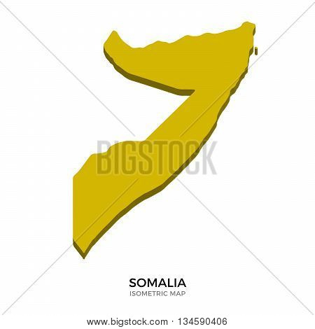 Isometric map of Somalia detailed vector illustration. Isolated 3D isometric country concept for infographic