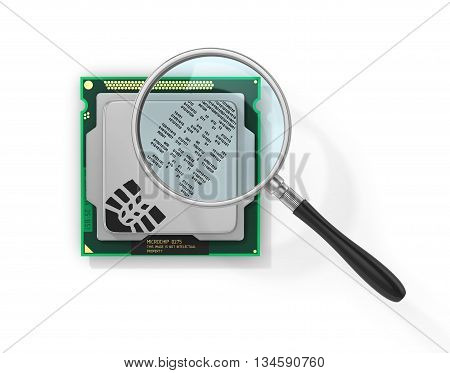 Concept of secure information. Magnifier over processor with boot rprint in form of binary code in field of view magnifying glass. Find the hacker. 3d illustration