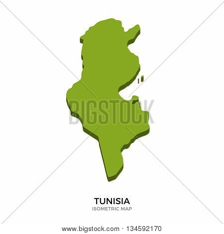Isometric map of Tunisia detailed vector illustration. Isolated 3D isometric country concept for infographic