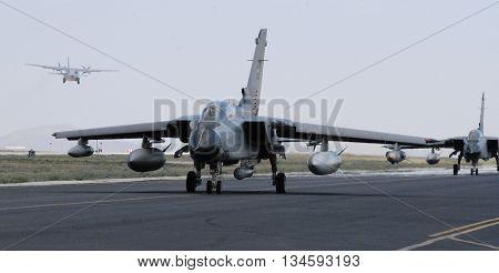 KONYA/TURKEY-JUNE 7, 2016: Saudi Arabian Air Force's Tornado at the TURAF 3rd Main Jet Base during the Anatolian Eagle Exercise 2016. June 7, 2016-Konya/Turkey