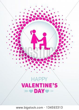 Colorful Valentines Day card with couple in halftone frame with hearts on the white background