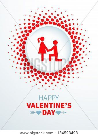 Bright Valentines Day card with couple in halftone frame with hearts on the white background