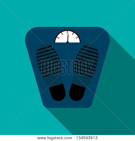 Weight scale icon in flat style on a blue background